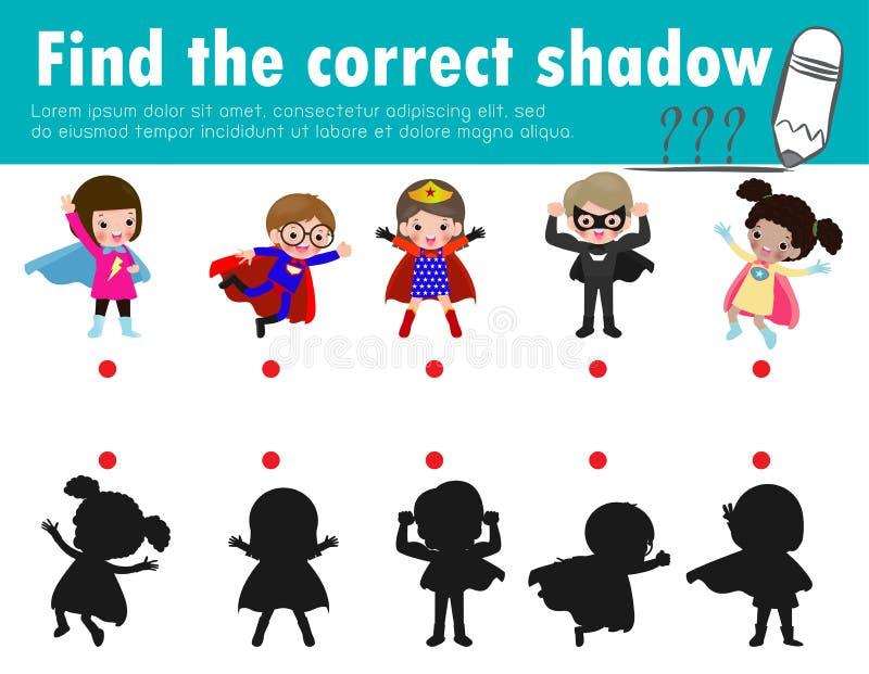 De leuke weinig superherojonge geitjes, vinden de correcte schaduw Onderwijsspel voor kinderen, Schaduw Passend Spel voor jonge g royalty-vrije illustratie
