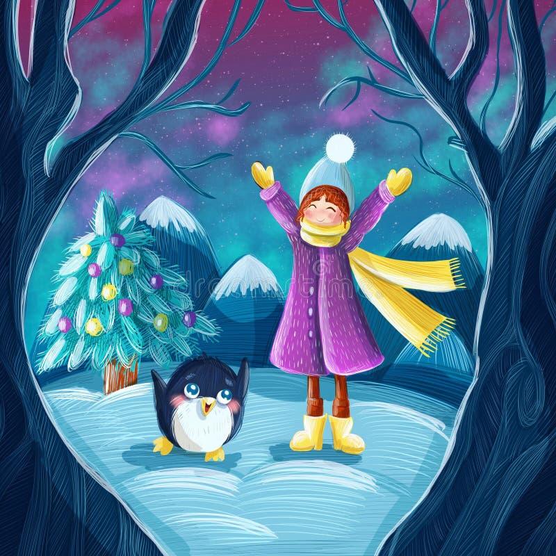 De leuke winter die van het beeldverhaalmeisje in het bos lopen royalty-vrije illustratie