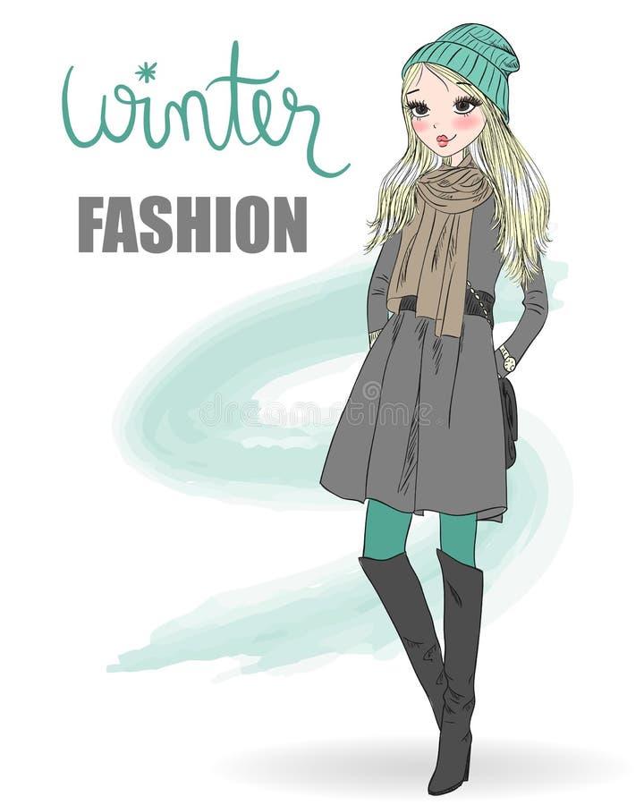 De leuke winter, manier, beeldverhaalmeisje royalty-vrije illustratie