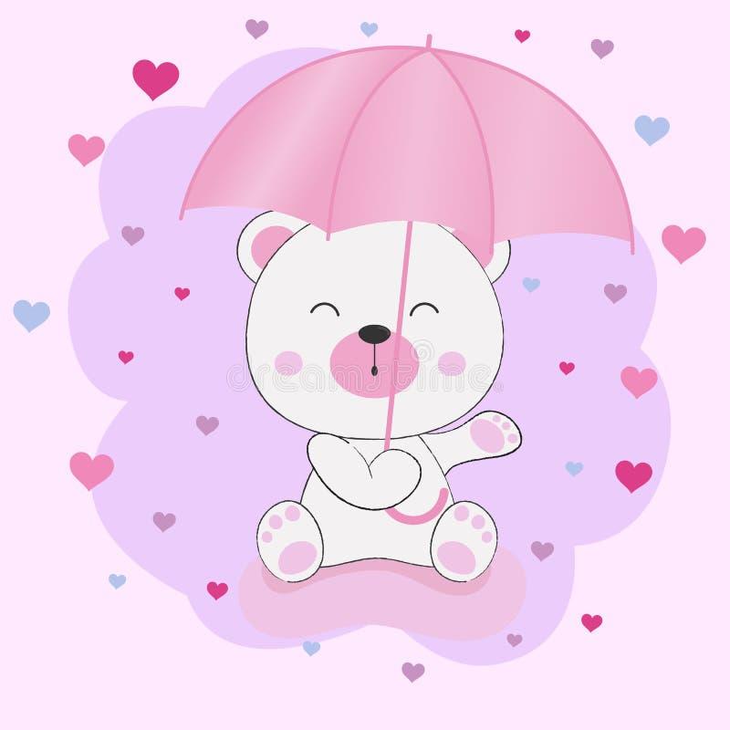 De leuke zitting van de fantasieteddybeer onder een paraplu royalty-vrije illustratie