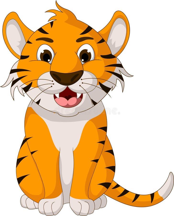 De leuke zitting van het tijgerbeeldverhaal royalty-vrije illustratie