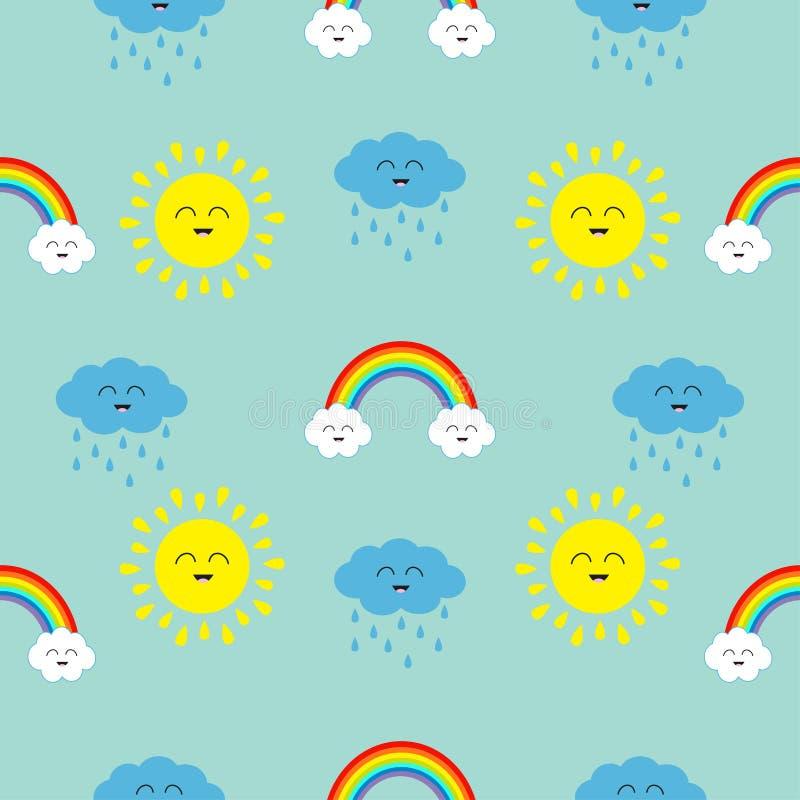 De leuke zon van beeldverhaalkawaii, wolk met regen, regenboogreeks Het glimlachen gezichtsemotie Naadloos het Patroon Verpakkend stock illustratie