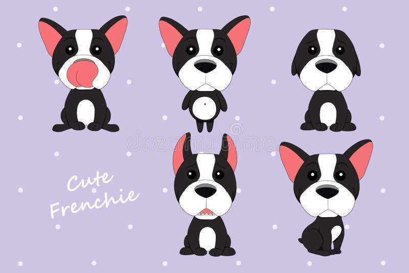 De leuke zwart-witte kleur van de hond Franse Buldog royalty-vrije illustratie