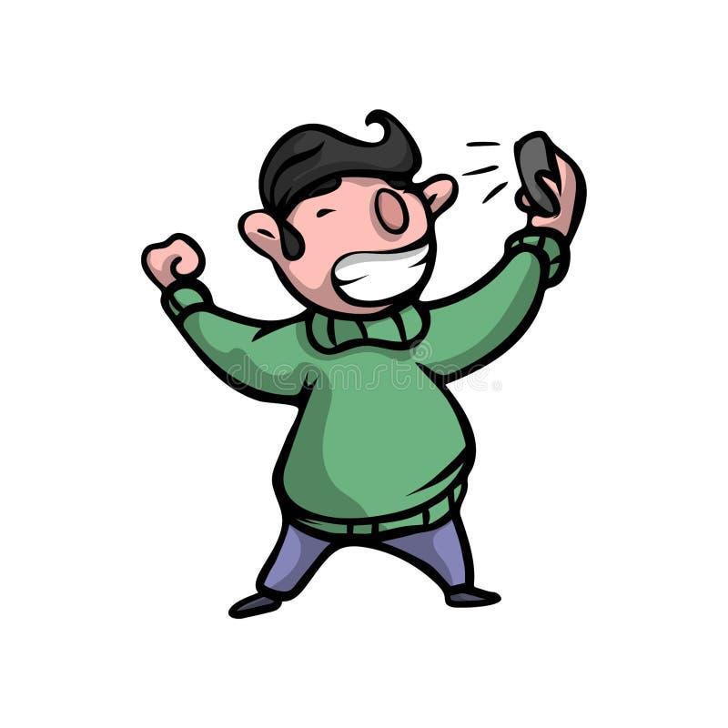 De leuke zwarte haarjongen in groene sweater maakt selfie royalty-vrije illustratie