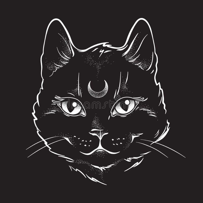 De leuke zwarte kat met maan op zijn kunst van de voorhoofdlijn en de punt werken Het meest tapest Wiccan vertrouwde geest, Hallo vector illustratie