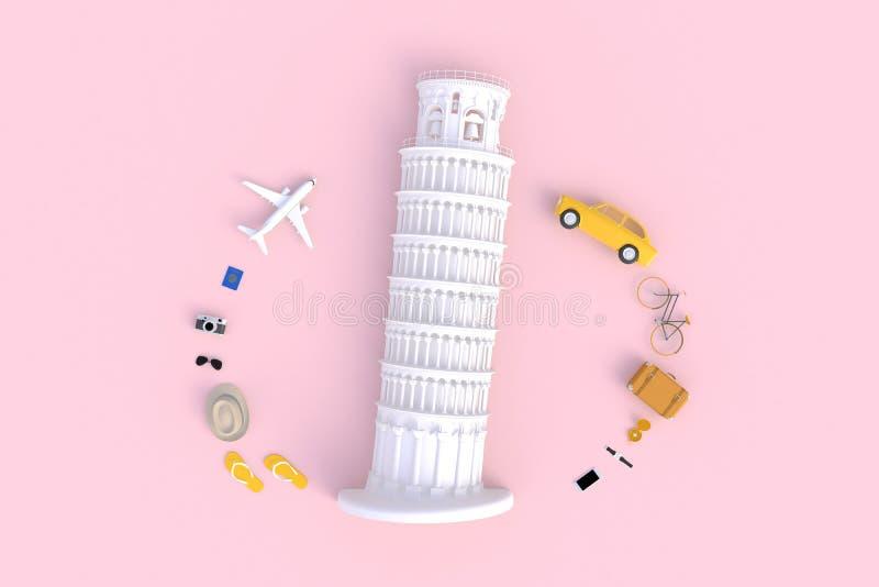 De leunende Toren van Pisa, Italië, Europa, Italiaanse Architectuur, Hoogste mening van de toebehoren van de Reiziger vat minimal royalty-vrije stock foto's