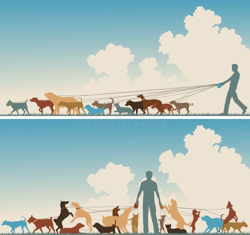 De leurder van de hond royalty-vrije illustratie