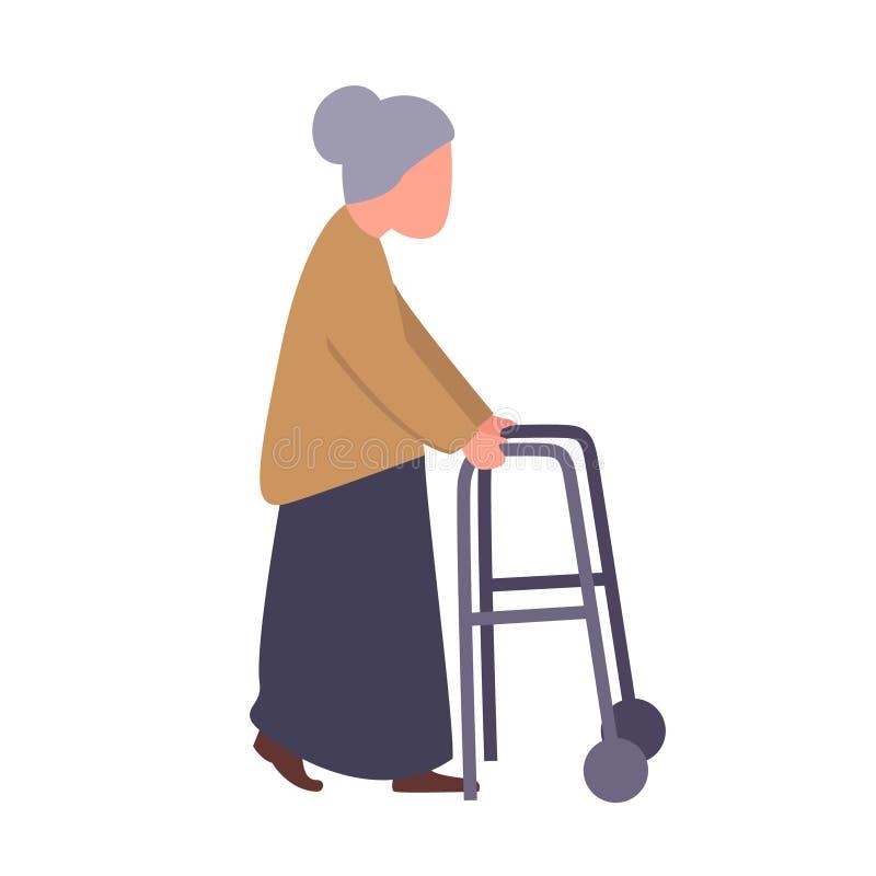 De leurderhandvat van de omagreep Oude vrouwelijke patiënt in revalidatiecentrum Rehabkliniek voor bejaard mensenconcept stock illustratie