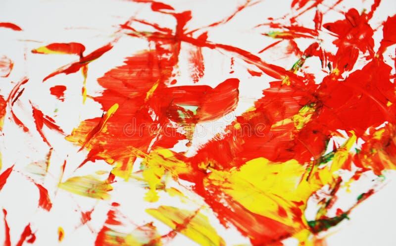 De levendige rode gele kleuren, vage het schilderen waterverfachtergrond, vatten het schilderen waterverfachtergrond samen royalty-vrije stock afbeeldingen