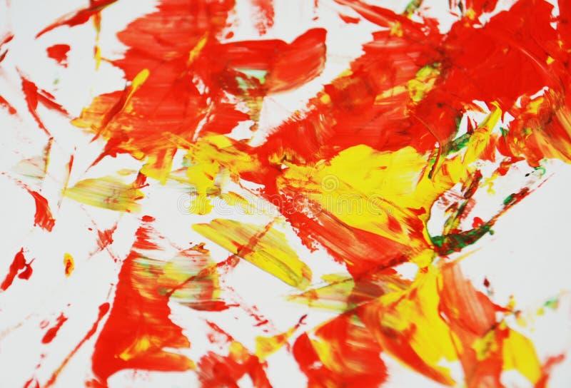 De levendige rode grijze geelgroene kleuren, vage het schilderen waterverfachtergrond, vatten het schilderen waterverfachtergrond stock afbeeldingen