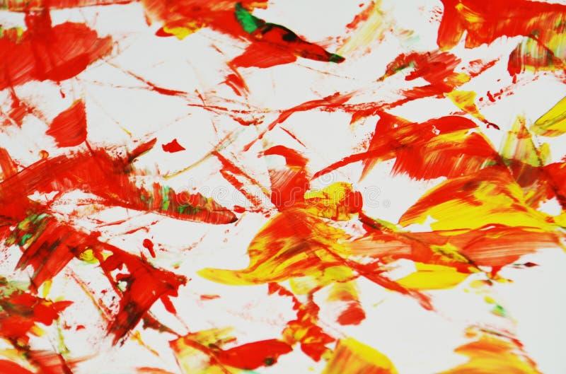 De levendige rode grijze gele kleuren, vage het schilderen waterverfachtergrond, vatten het schilderen waterverfachtergrond samen stock foto's