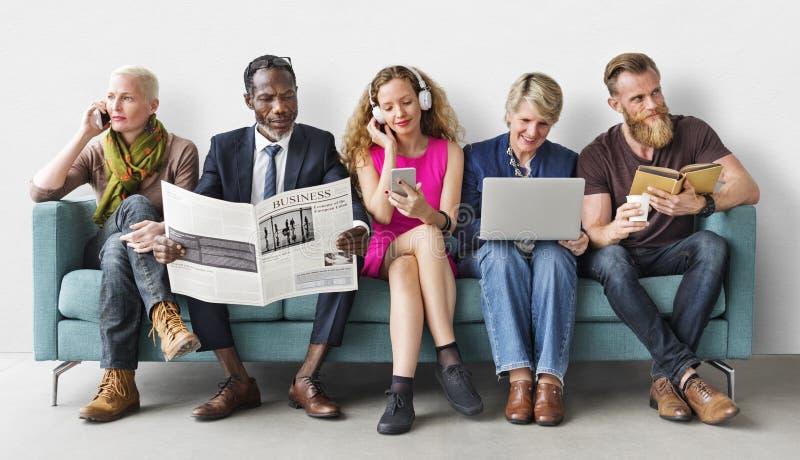 De Levensstijl Communicatie van de diversiteitsgroep Mensen Concept royalty-vrije stock fotografie