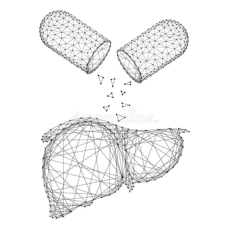 De lever is een menselijk orgaan en een stof uit de pilcapsule van abstracte, futuristische polygonale zwarte lijnen en stippen V royalty-vrije illustratie