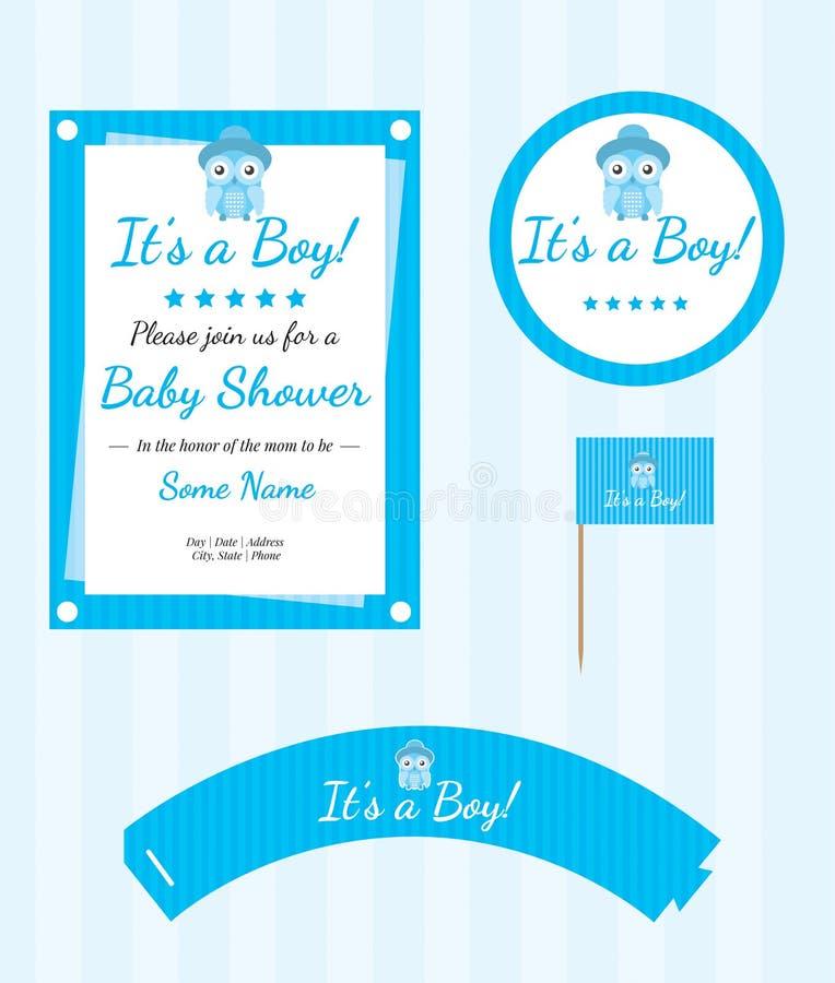 De Levering van de babydouche, de Reeks van de Babydouche, Owl Shower Party Set vector illustratie