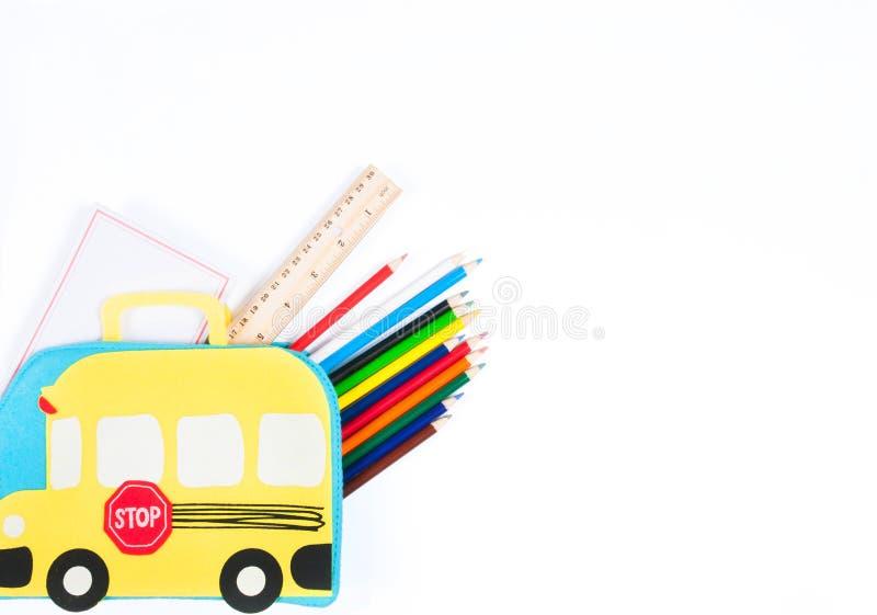 De Levering van de school op witte achtergrond stock afbeeldingen