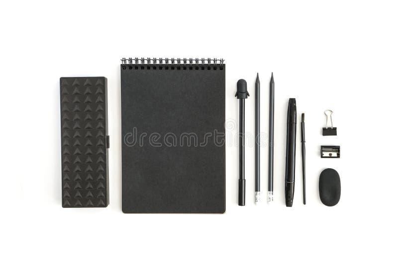 De levering van het bureau Terug naar School E voorwerpen op witte achtergrond stock foto's
