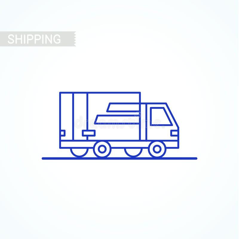 De levering van het lijnpictogram Het pictogram van het bestelwagenoverzicht op witte achtergrond De dienst van de levering Het v royalty-vrije illustratie