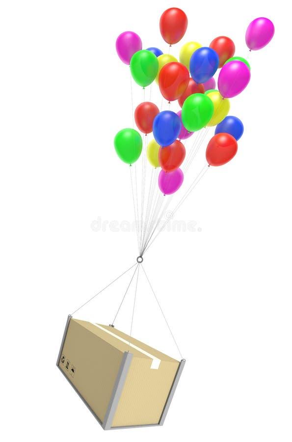 De levering van het luchtpostpakket door de dienst te verschepen van de ballonkoerier vector illustratie