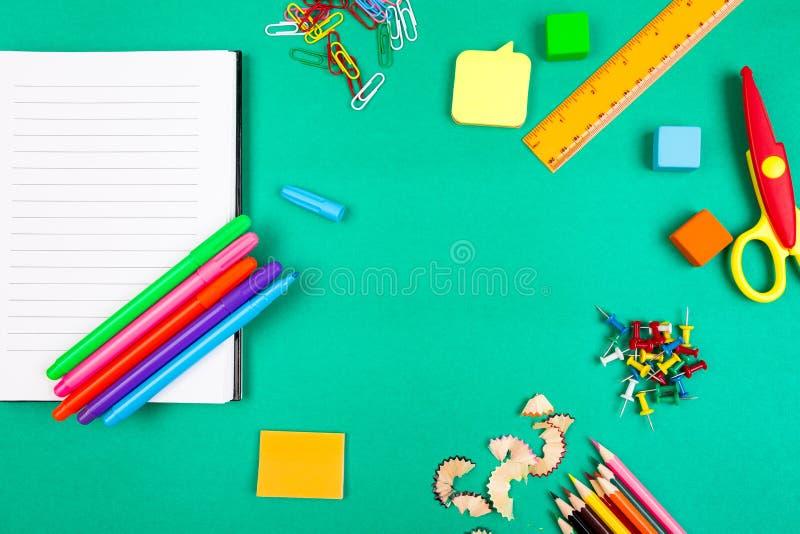 De levering van de school Concept terug naar school Hoogste mening Vlak leg royalty-vrije stock foto