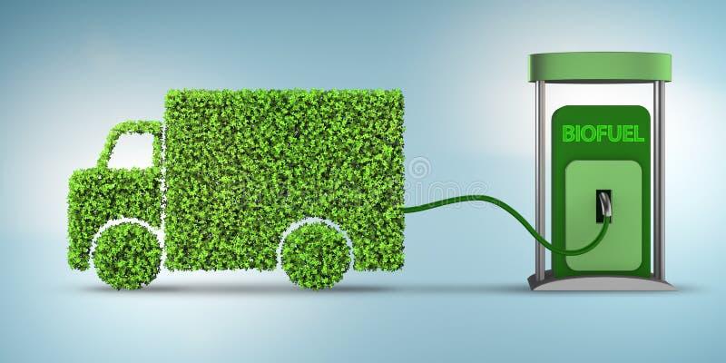 De leveringsbestelwagen door biofuel wordt - het 3d teruggeven aangedreven die royalty-vrije illustratie