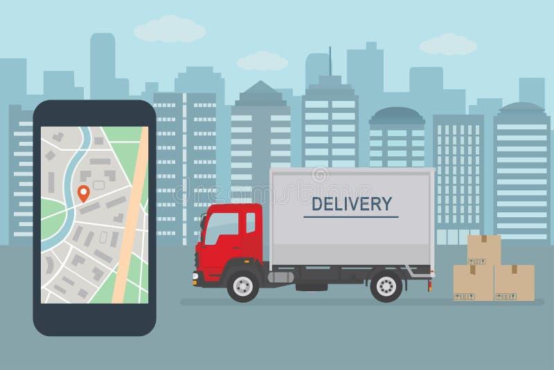 De leveringsdienst app op mobiele telefoon Leveringsvrachtwagen en mobiele telefoon met kaart op stadsachtergrond stock illustratie