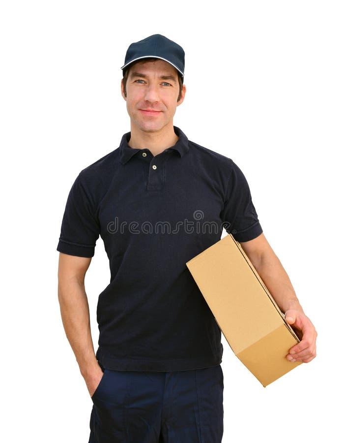 De leveringsdienst - pakketdrager om pakketten te leveren en te verzenden stock fotografie