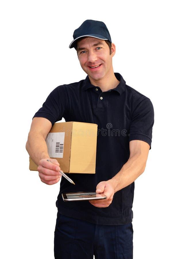 De leveringsdienst - pakketdrager om pakketten te leveren en te verzenden royalty-vrije stock afbeeldingen