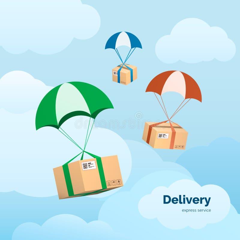 De leveringsdiensten en Handel Pakketten die op valschermen vliegen Vlakke vectorillustratieelementen op hemelachtergrond stock illustratie