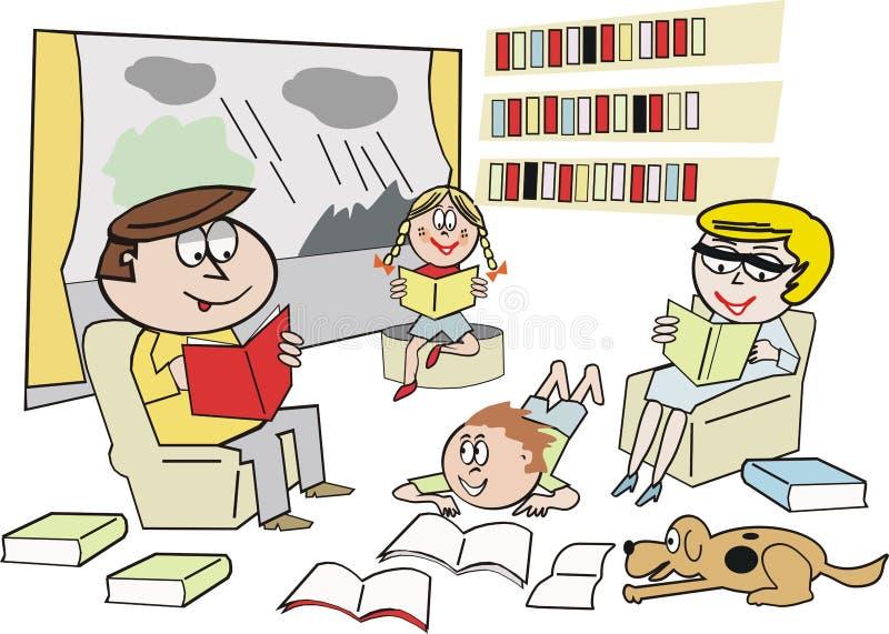 De lezingsbeeldverhaal van de familie vector illustratie