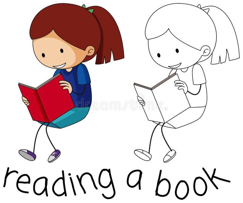 De lezingsboek van het krabbelmeisje stock illustratie