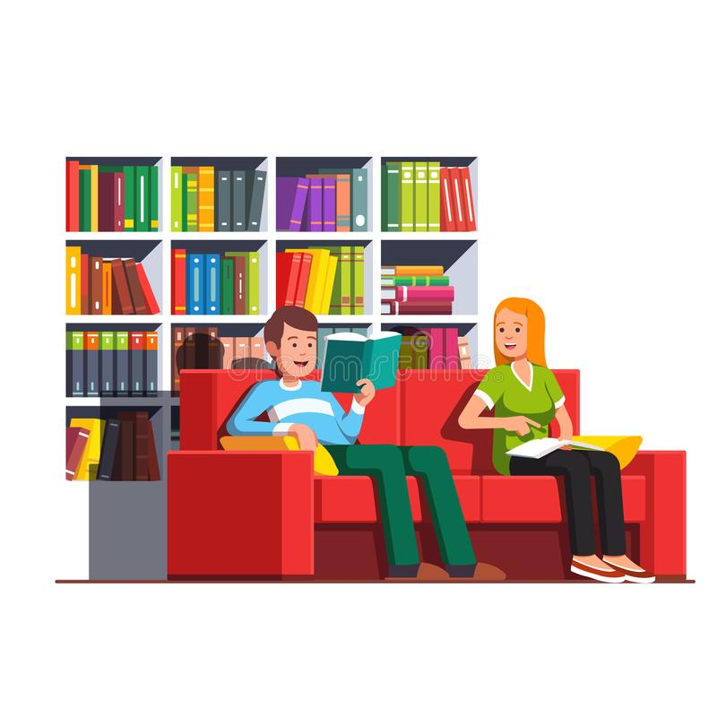 De lezingsboeken die van het familiepaar op laag zitten stock illustratie