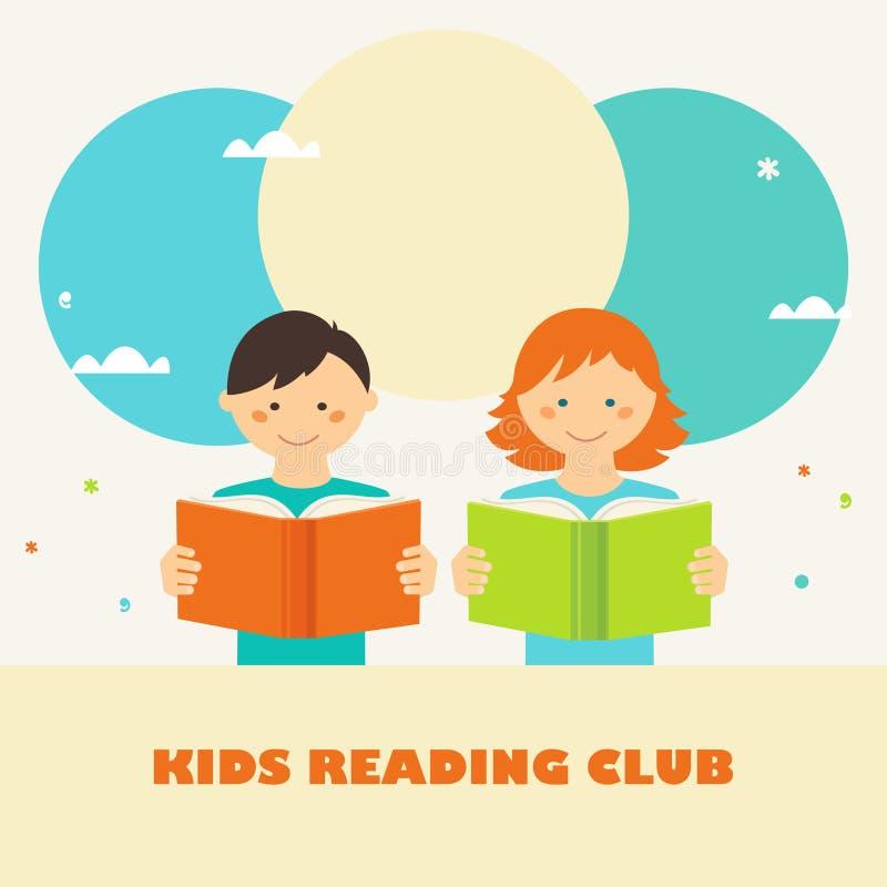 De lezingsboeken van de jongen en van het meisje Jonge geitjes die Clubteken lezen Lezing en Onderwijsconcept royalty-vrije illustratie