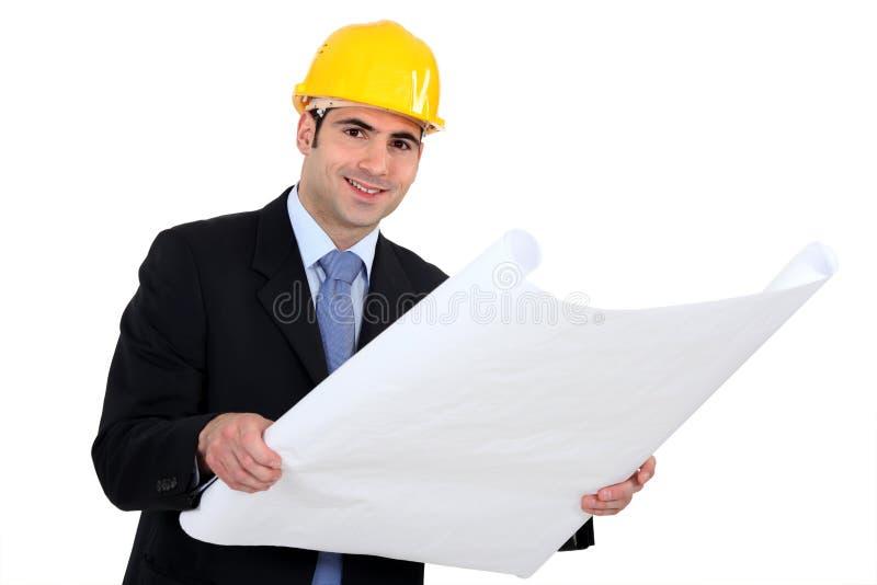 De lezingsplannen van de architect stock fotografie