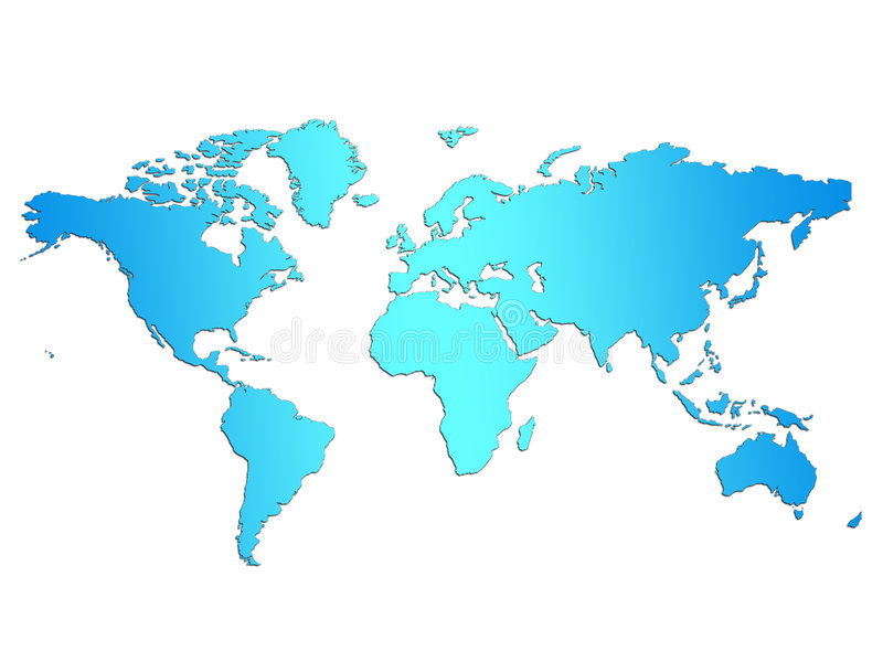 De lichtblauwe Kaart van de Wereld vector illustratie