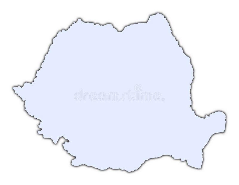 De lichtblauwe kaart van Roemenië stock illustratie