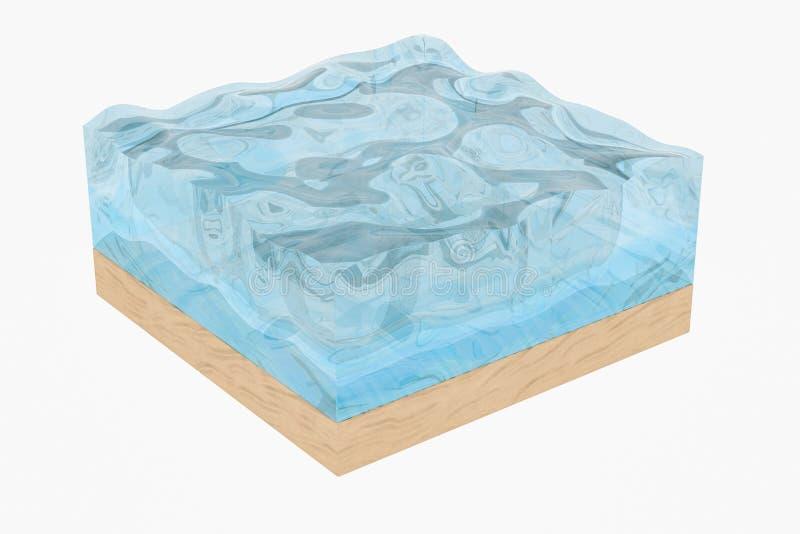 De lichtblauwe kubus van de watergolf, met creatieve gebiedenbel, het 3d teruggeven stock illustratie