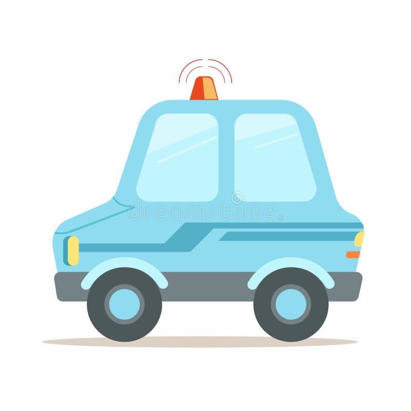 De lichtblauwe vectorillustratie van de beeldverhaalpolitiewagen stock illustratie