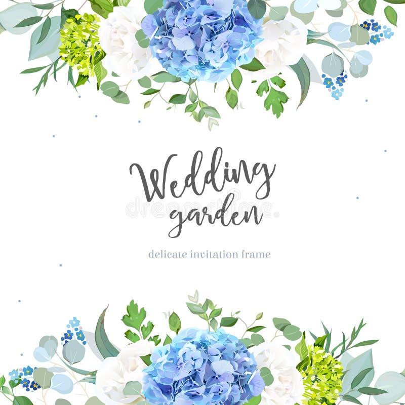 De lichtblauwe witte hydrangea hortensia, nam toe, vergeet me niet wildflowers, euc vector illustratie