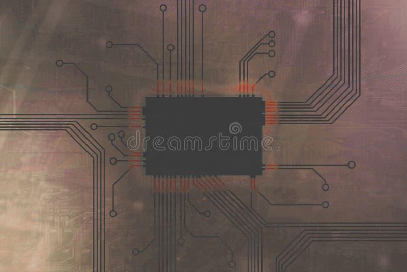 De lichtbruine Gekleurde kern van de digitale computerspaander stock illustratie