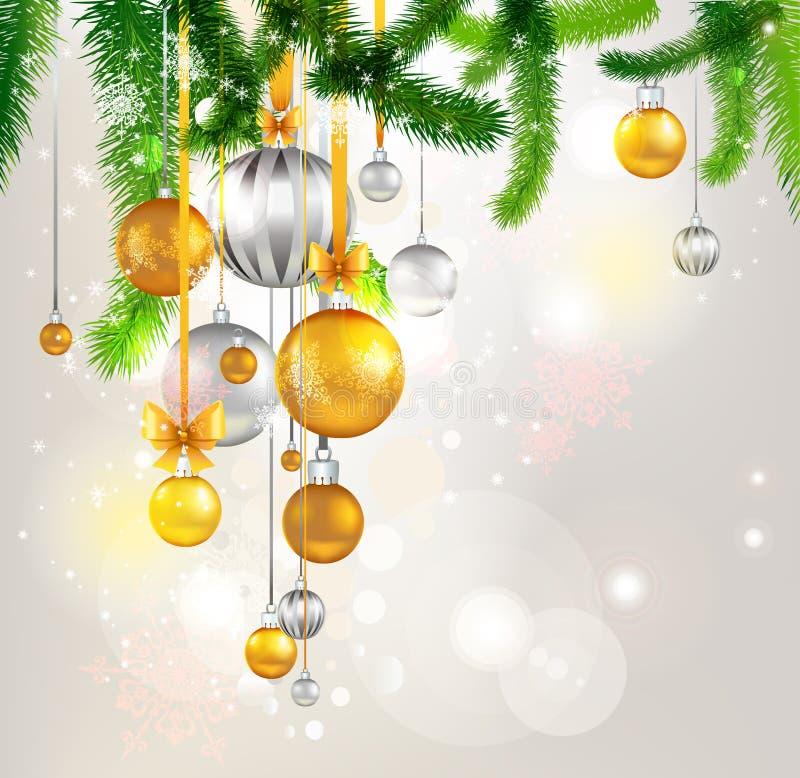De lichte achtergrond van de kerstboom stock illustratie