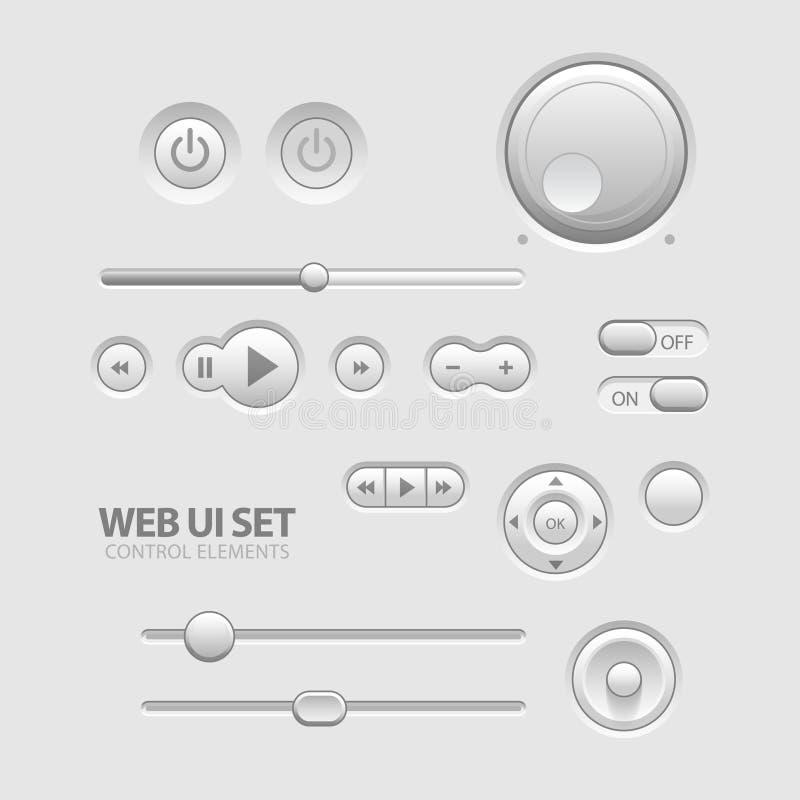 De lichte Elementen van het Web UI ontwerpen Grijs. royalty-vrije illustratie