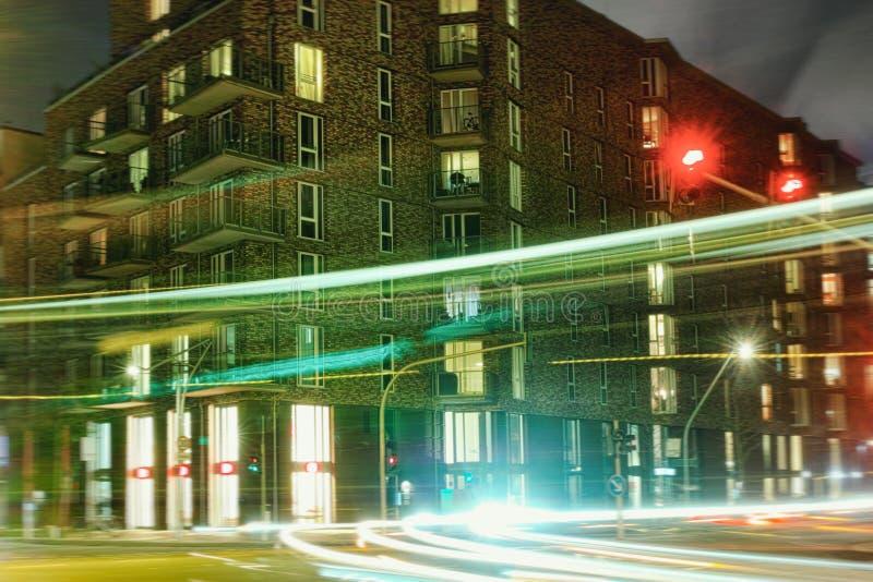 De lichte grote tijdopname van Hamburg Hafencity backstein stock foto