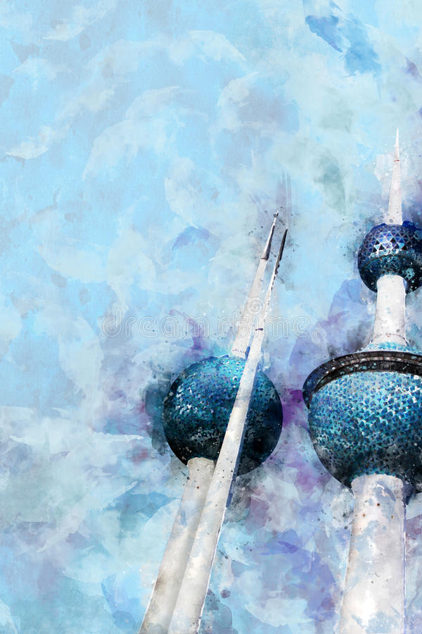 De lichte Illustratie van de Waterverfstijl van de Torens Landmar van Koeweit vector illustratie