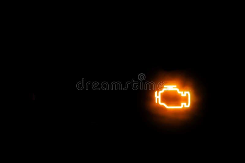 De lichte motor/Emissies waarschuwen toont op een achtergrond royalty-vrije stock foto