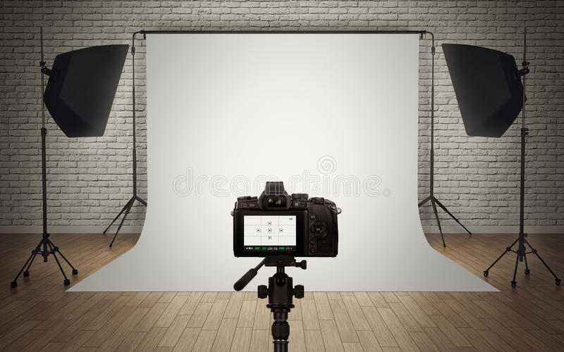 De lichte opstelling van de fotostudio vector illustratie