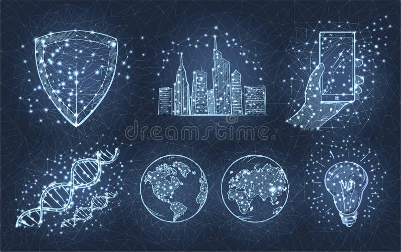 De lichte Schets van Stad, Planeten, telefoneert ter beschikking, Bol royalty-vrije illustratie