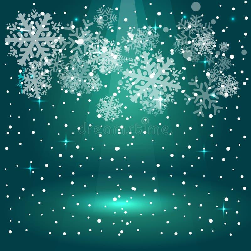 De lichte Schijnwerper van het Kerstmisstadium met sneeuwvlokken stock illustratie