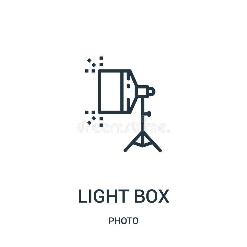 de lichte vector van het doospictogram van fotoinzameling De dunne van het het overzichtspictogram van de lijn lichte doos vector royalty-vrije illustratie