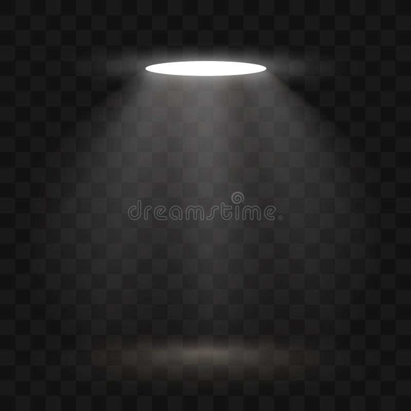 De lichteffecten van de schijnwerpersscène Vector van de stadium de lichte schijnwerper Vector illustratie royalty-vrije illustratie