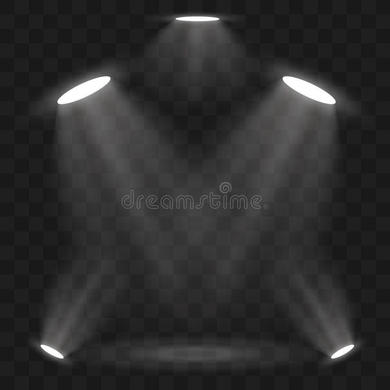 De lichteffecten van de schijnwerpersscène Vector van de stadium de lichte schijnwerper Vector illustratie vector illustratie